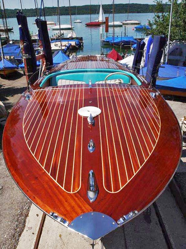 Simmerding Mahagoni Elektro-Motorboot