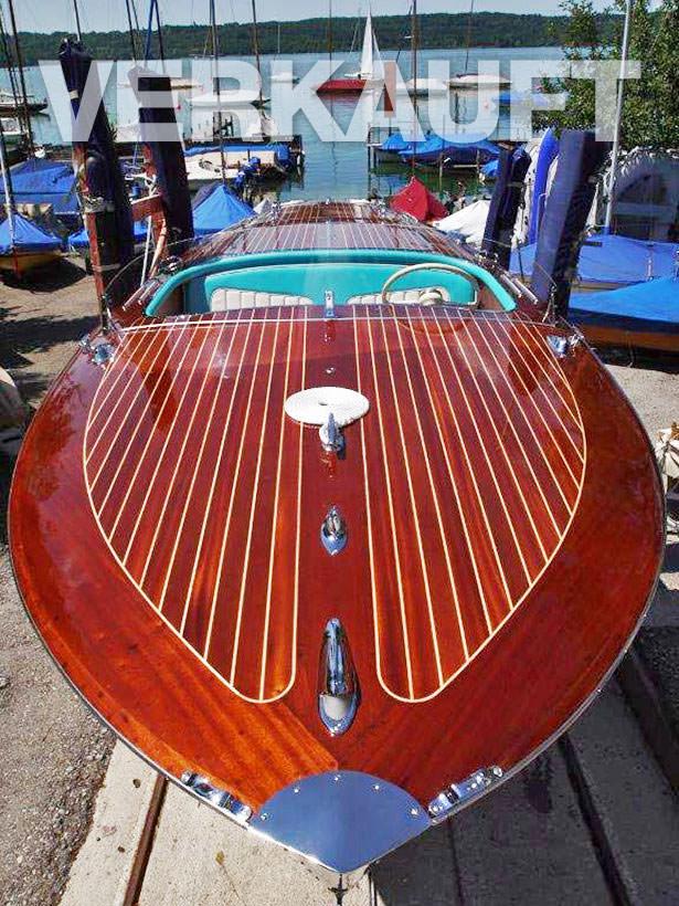 VERKAUFT! Simmerding Mahagoni Elektro-Motorboot